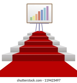 red carpet stairs success background.