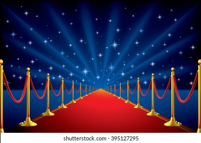 Red carpet with a starry background
