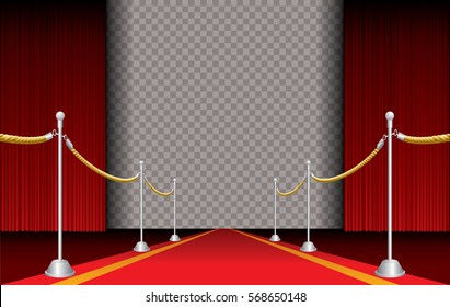 red carpet with stars and transparent background, layered and editable vector illustration