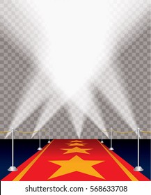 red carpet with stars and transparent spots, layered and editable vector illustration