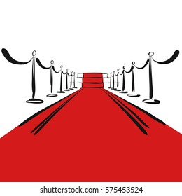 Red carpet with steps on stage, background, hand-drawn vector clipart