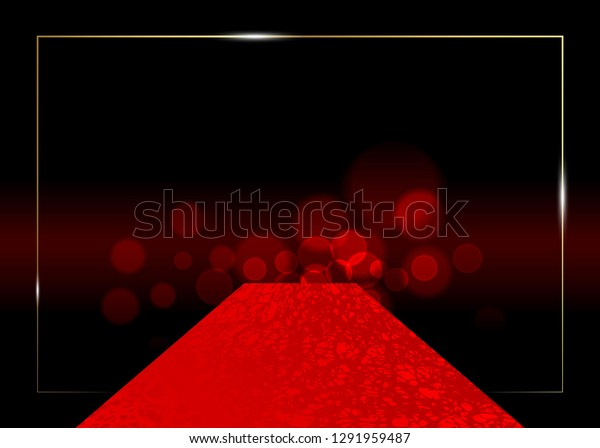 red carpet vector background. Hollywood luxury and elegant red carpet event, perspective illustration. Red color carpet for celebrity, Success and stars prestige event vector concept for entrance vip