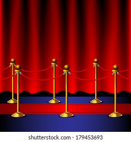 Red carpet with velvet red rope barrier with a curtain