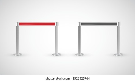Red carpet vip entrance restriction vector, metallic poles with red ribbon to forbid passage, isolated on white background. Retractable belt stanchion for events, entertainments to keep the crowd away