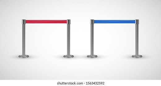 Red carpet vip entrance restriction vector, metallic poles with red, blue ribbon to forbid passage, isolated on white background. Retractable belt stanchion for events, clubs to keep the crowd away.