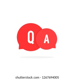 red cartoon bubble like question answer. concept of abstract online conversation for help or fast solve problem. minimal flat trend modern simple qa logotype graphic art design on white background