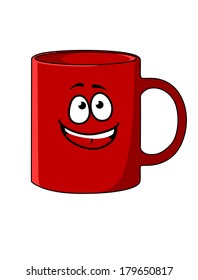 Red cartoon coffee mug with a happy face and big smile and a handle to the side, vector illustration