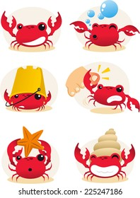 Red cartoon crab action set, with six different crabs in different situations vector illustration.