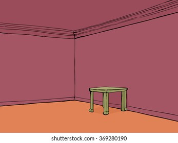Red cartoon empty room with little table and blank walls