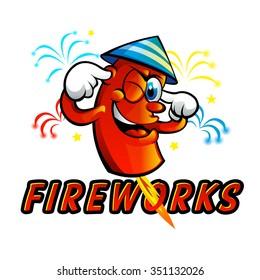 Red Cartoon fireworks