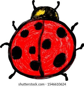 A red cartoon ladybug beetle. Hand drawn vector illustration.
