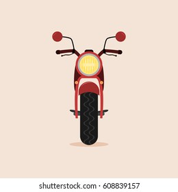 Red cartoon motorcycle - front view. Isolated vector illustration.