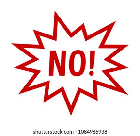 """Red cartoon scream speech bubble / balloon with the word """"NO"""" line art vector icon for comic apps and websites"""