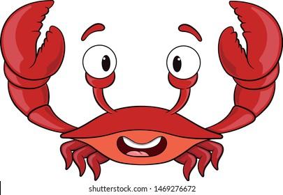 red cartoon smiling crab vector