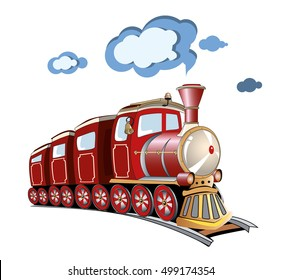 Red cartoon vintage train