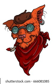Red cat beatnik with a cigarette, in round glasses, with a scarf and in a beret