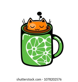 Red cat in the cup of coffee. Vector illustration.