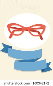Red cat eye glasses and blue ribbon.
