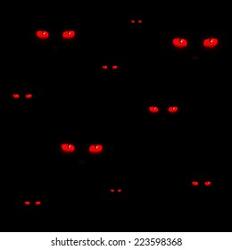 Red cat eyes Halloween pattern vector