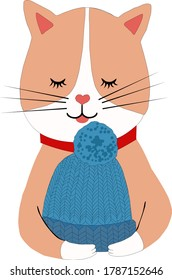 A red cat with a hat in its paws.Knitting.Vector illustration on a white background.