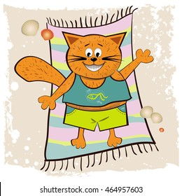 Red cat on vacation sunning, marine theme