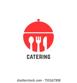 red catering service logo isolated on white. concept of sign for buffet or cafe and restaurant setting for dining. simple flat style trend modern logotype graphic circle design illustration