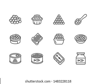 Red caviar flat line icons set. Canned fish eggs, tobiko roe, appetizer vector illustrations. Outline signs for seafood store. Pixel perfect. Editable Strokes.