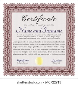 Red Certificate diploma or award template. Printer friendly. Nice design. Customizable, Easy to edit and change colors.