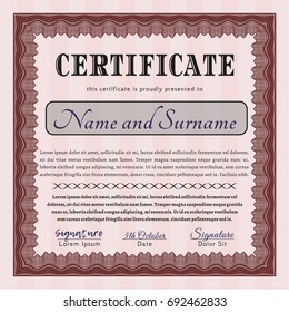 Red Certificate diploma or award template. With guilloche pattern and background. Customizable, Easy to edit and change colors. Cordial design.