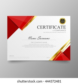 Red certificate diploma background template vector modern value design and luxurious elegant. Illustration layout cover leaflet horizontal in A4 size pattern.