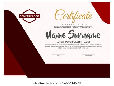 Red Certificate or diploma template with Unique Frame Border. Customizable, Easy to edit and change colors.