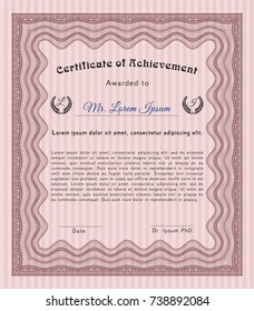 Red Certificate. Nice design. Detailed. With linear background.