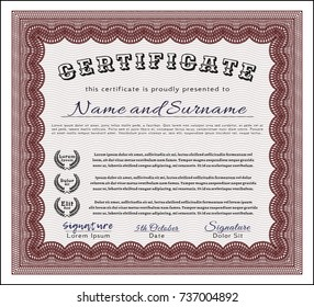 Red Certificate template or diploma template. Lovely design. Vector illustration. Easy to print.