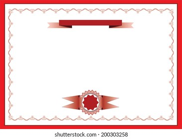 Red certificate vector with ribbon and stamp.