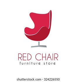 Red Chair Business sign vector template for office furniture store, home decor, furniture design. Egg shape chair silhouette icon. Corporate web site element. Sample text. Layered editable design