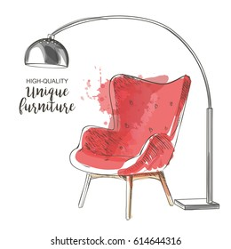 Red chair with lamp. Hand drawn furniture and interior detail chairs vector sketch isolate