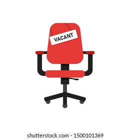 Red chair vacant. Business recruiting concept. Red isolated chair with signboard vacant. EPS 10