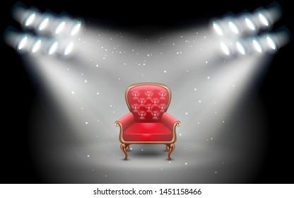 red chair white white spotlight in the studio room