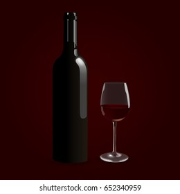 red champagne bottle and glasses vector