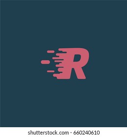 Red character 'R' with speed effect from a typeface, vector illustration