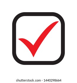 Red check icon. Checkmark vector. Approved symbol. Ok icon. Check button sign. Tick icon. Checkpoint. Best modern flat pictogram illustration sign for web and mobile apps design