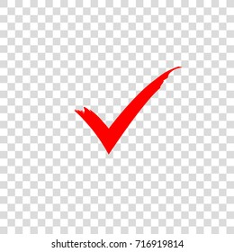 Red check mark icon. Vector check mark. Vector illustration, color easy to edit. Transparent background.