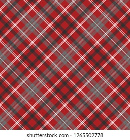 Red check plaid seamless fabric texture. Vector illustration.