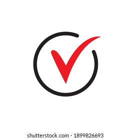 Red check simple icon. Approved Tick sign. Confirm, Done or Accept symbol.