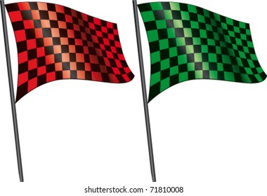 Red checkered flag and green checkered flag