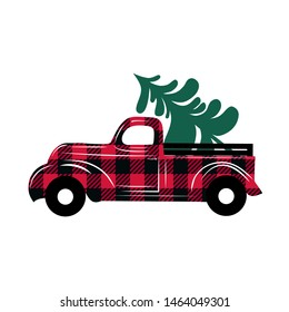 Red checkered truck delivers a Christmas tree.Christmas truck illustration. Cartoon style.Vector image.