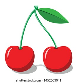 red cherry flat icon on white background