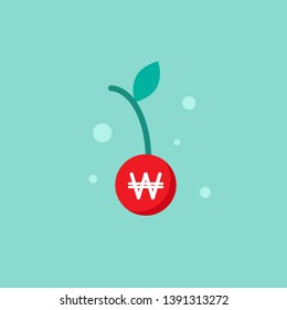 red cherry with leaf and white korean won sign. vector icon. Income growth, financial result, bonus, offer, coupon flat icon. Isolated on blue. Economy, finance, money symbol.