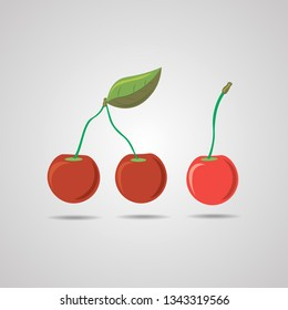 Red cherry vector icon. Red cherry isolated on gray background