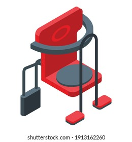 Red child seat bike icon. Isometric of red child seat bike vector icon for web design isolated on white background